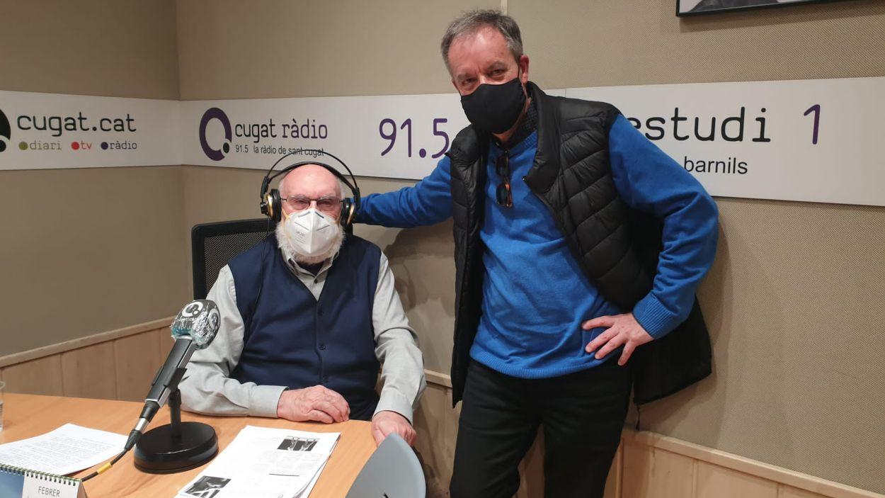 Eduard Jener i Ferran de Juan, a l'Estudi Ramon Barnils de Ràdio Sant Cugat / Foto: Cugat Mèdia
