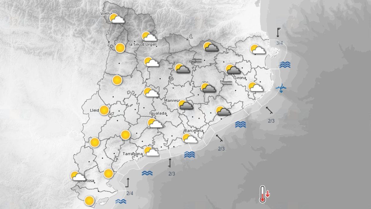 Mapa de la previsió meteorològica de Catalunya / Foto: Meteocat