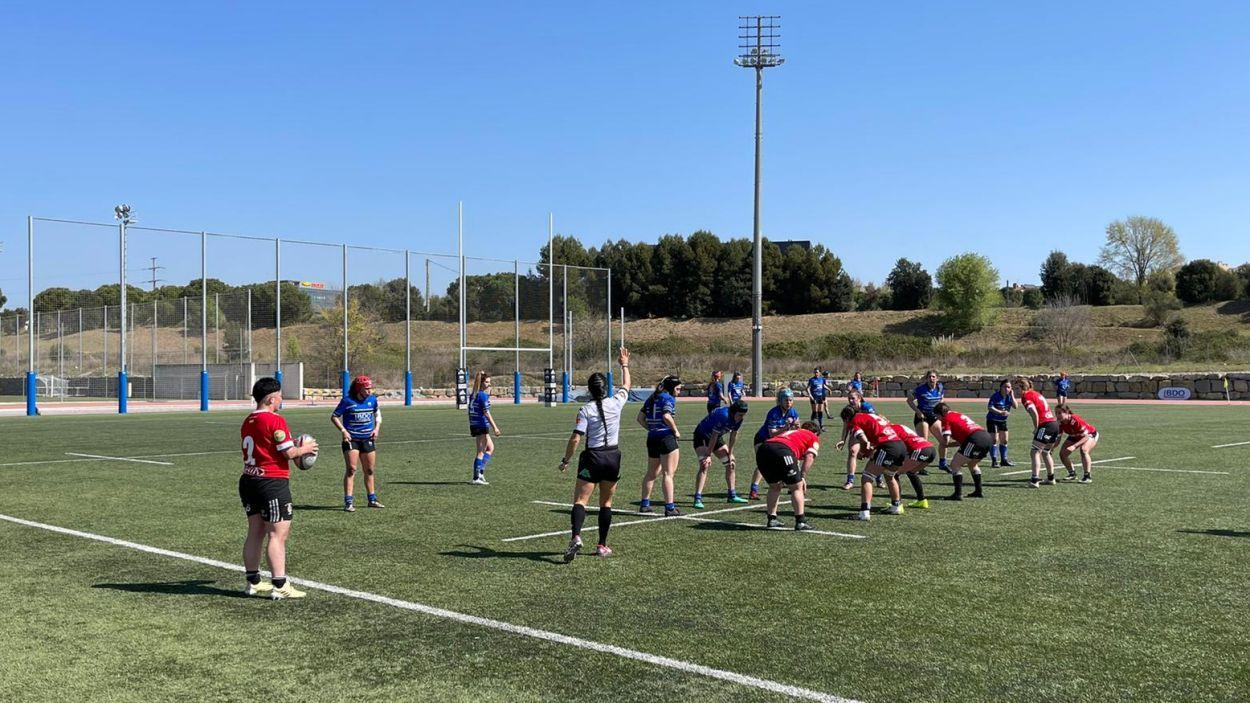 En imatge el partit entre el Club de Rugbi Sant Cugat i El Salvador de Valladolid / Font: Cugat Mèdia