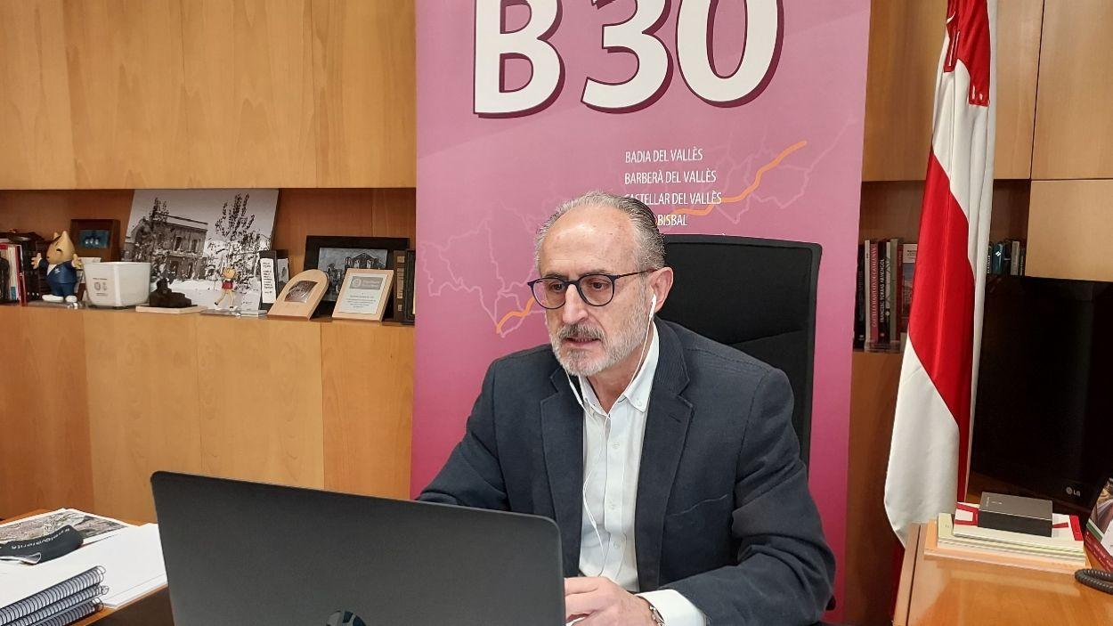 L'alcalde de Mollet del Vallès, Josep Monràs, durant el Consell plenari / Foto: Cedida