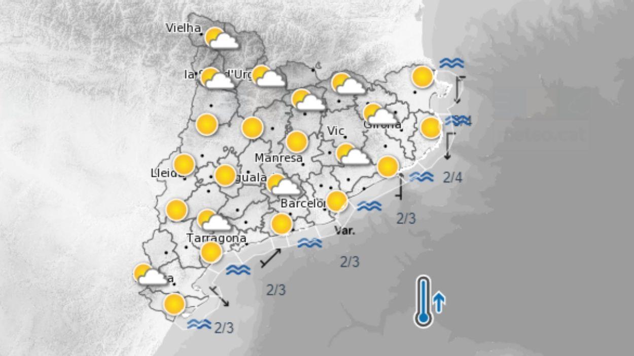 Mapa de la previsió meteorològica de Catalunya d'aquest dissabte / Foto: Meteocat
