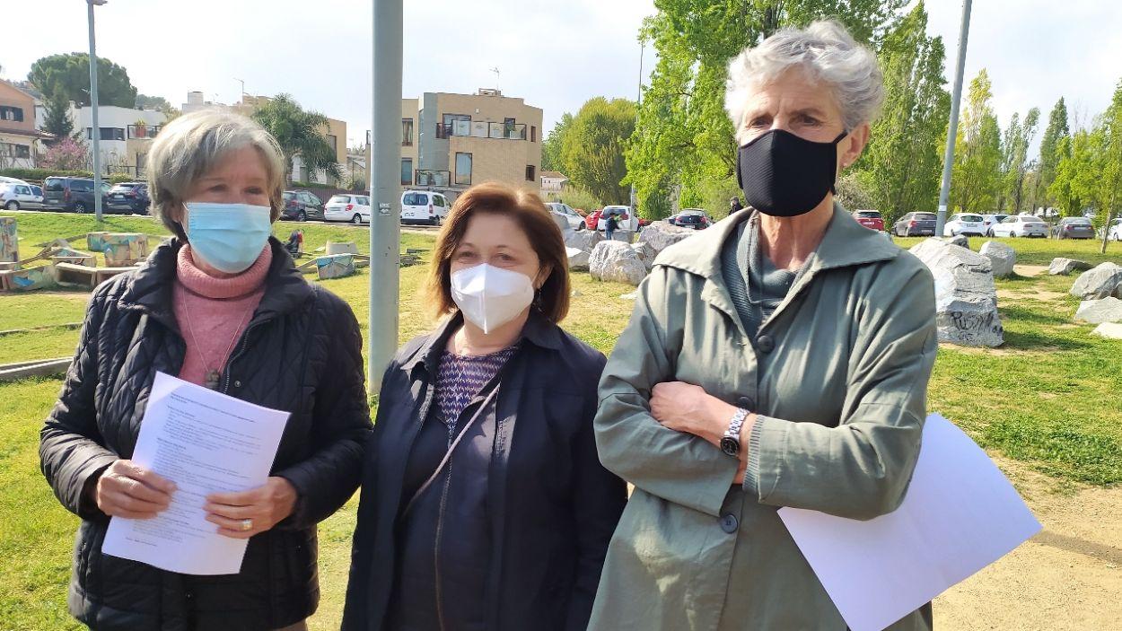Roser Casamitjana, Cruz Molina i Asun Reyes a la roda de premsa / Foto: Cugat Mèdia