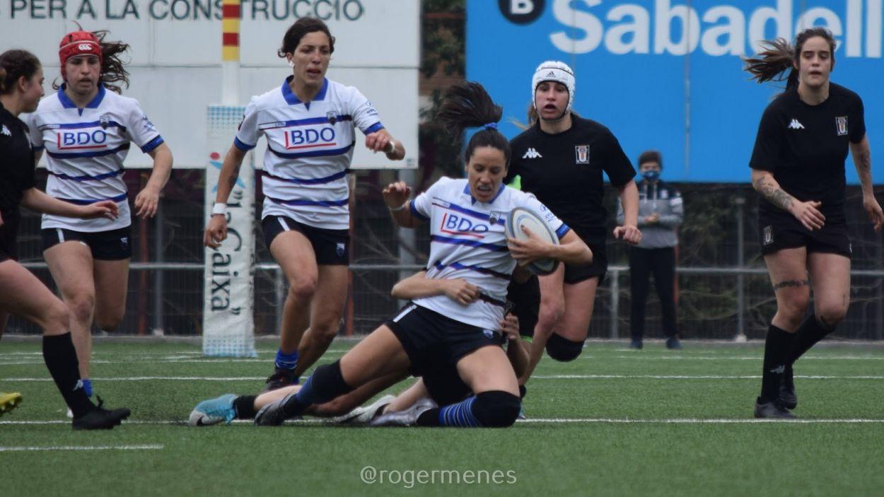 Moment de la final entre el Rugby Sant Cugat i el BUC / Foto: Roger Menes