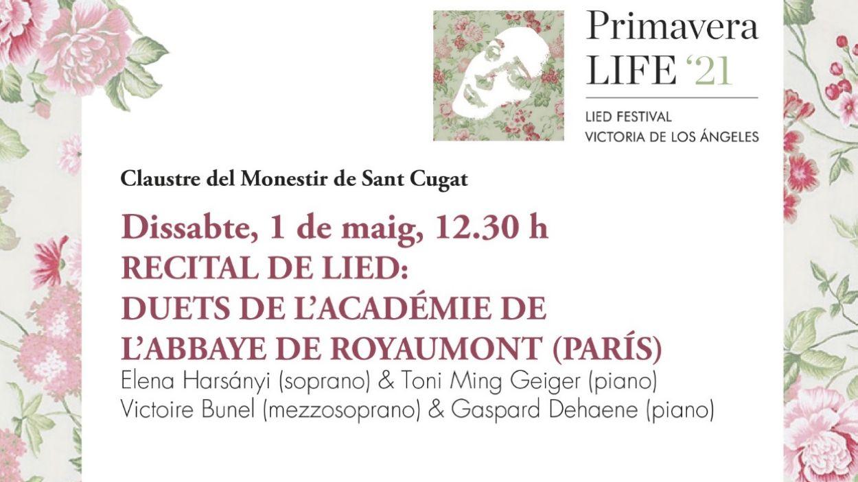 Imatge del cartell on s'anuncia el concert del recital de Lied d'aquest dissabte al Claustre del Monestir / Foto: Cugat Mèdia