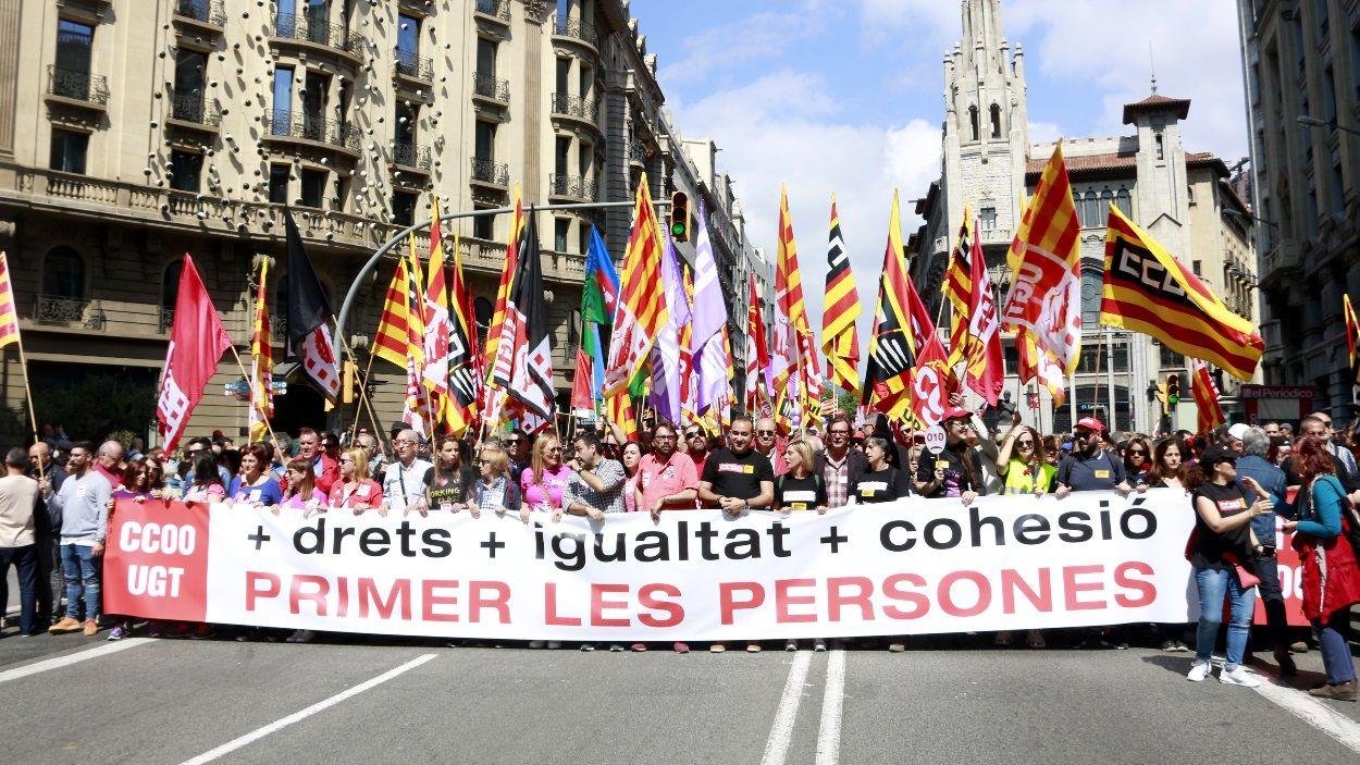 Imatge d'arxiu de la manifestació a Barcelona de l'1 de maig de 2019 / Foto: ACN