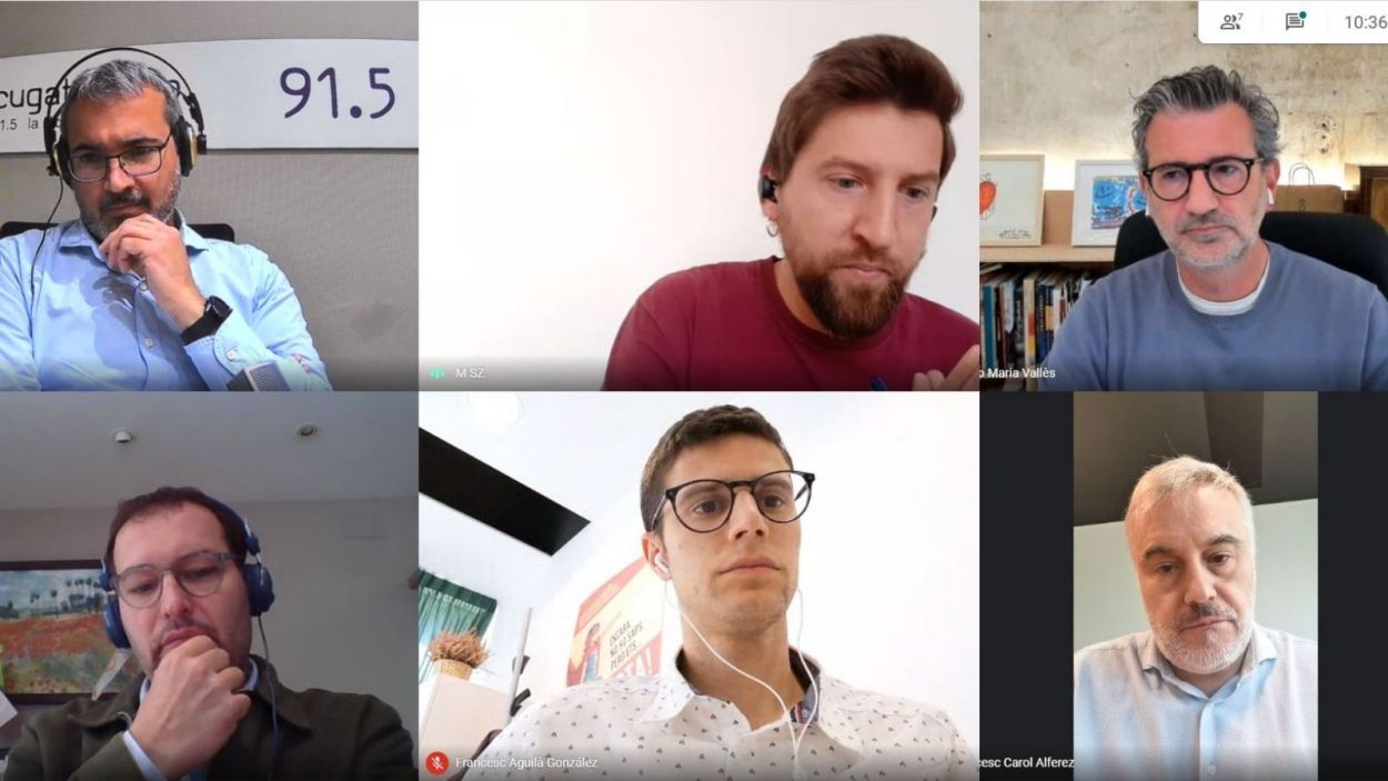 Albert Solé. Marco Simarro (CUP-PC), Josep Maria Vallès (Junts), Sergio Blázquez (Cs), Francesc Aguilà (PSC) i Francesc Carol (ERC-MES) a la tertúlia del 12 de maig / Foto: Meet