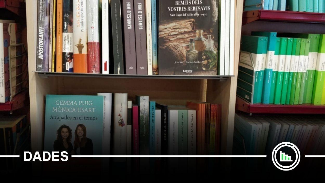 Una prestatgeria de llibres d'autors santcugatencs / Foto: Cugat Mèdia