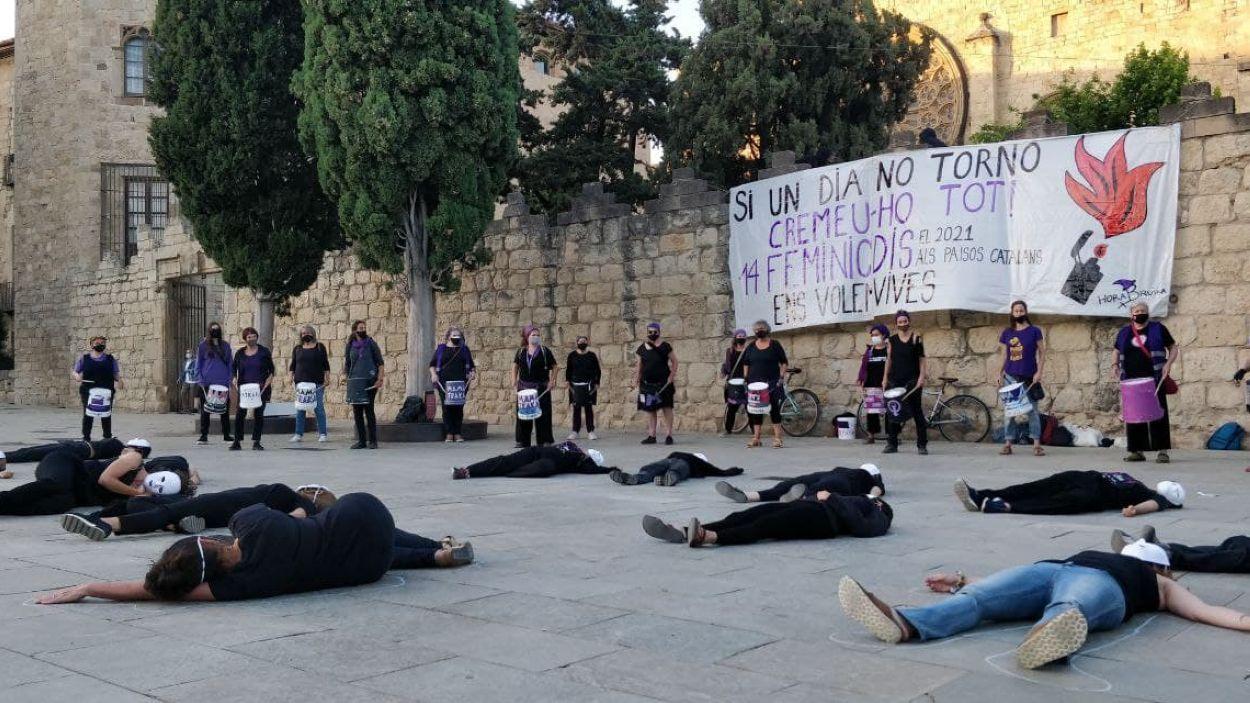 La performance ha tingut lloc a la plaça d'Octavià / Foto: Cugat Mèdia