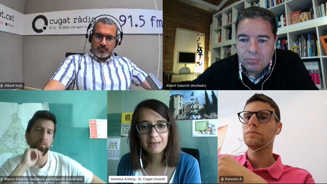 Albert Solé, Albert Salarich (Junts), Marco Simarro (CUP-PC), Gemma Aristoy (ERC-MES) i Francesc Aguilà (PSC) / Foto: Teams