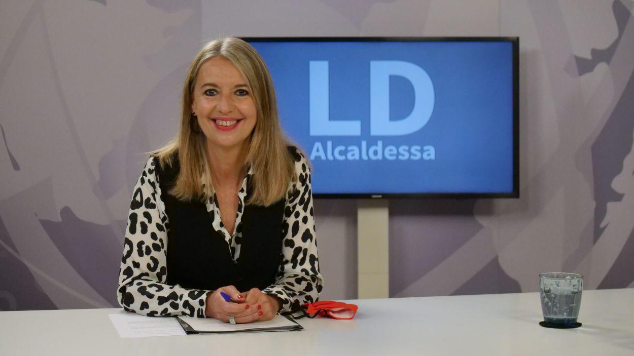Imatge de l'alcaldessa, Mireia Ingla, al plató de Cugat Mèdia / Foto: Cugat Mèdia (Lluís Llebot)