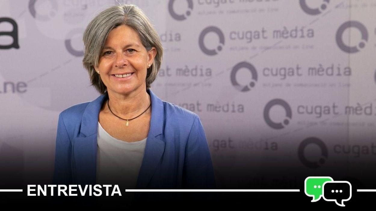 Carmela Fortuny al plató de Cugat Mèdia / Foto: Cugat Mèdia (Lluís Llebot)