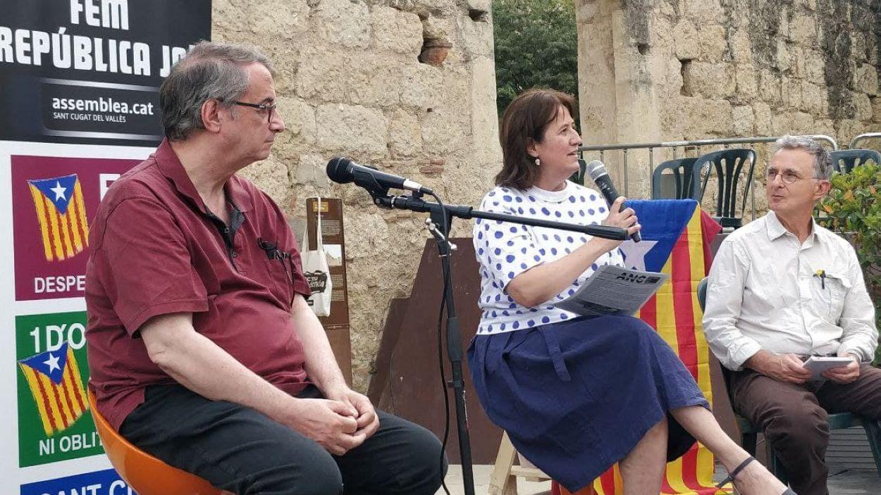 Vicent Partal i Elisenda Paluzie, aquest dimecres a Sant Cugat / Foto: Cugat Mèdia