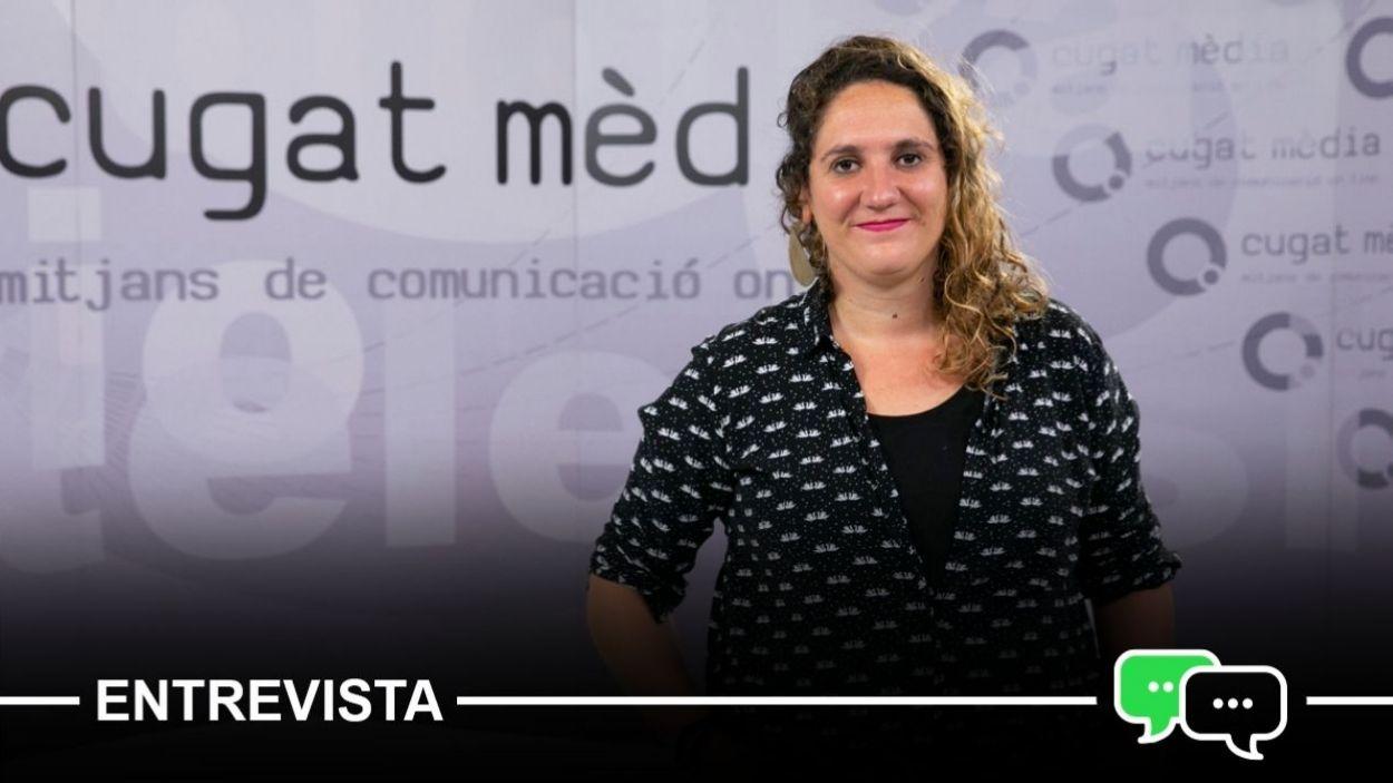 Núria Gibert, portaveu de la CUP-PC, al plató de Cugat Mèdia / Foto: Lluís Llebot