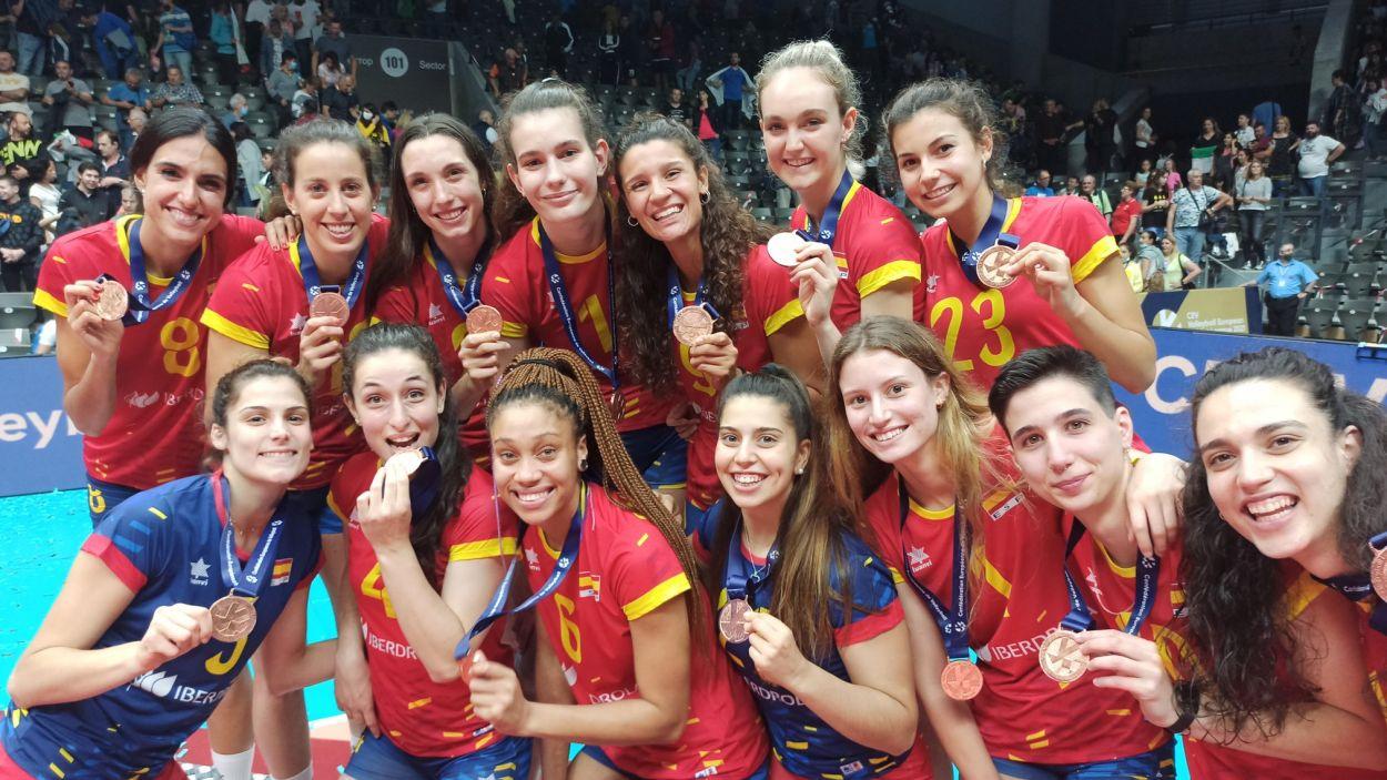 Ariadna Priante, bronze a l'Europeu amb la selecció espanyola / Foto: Rfevb
