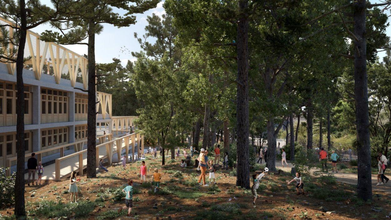 Render del projecte de l'escola La Mirada / Foto: Ajuntament de Sant Cugat