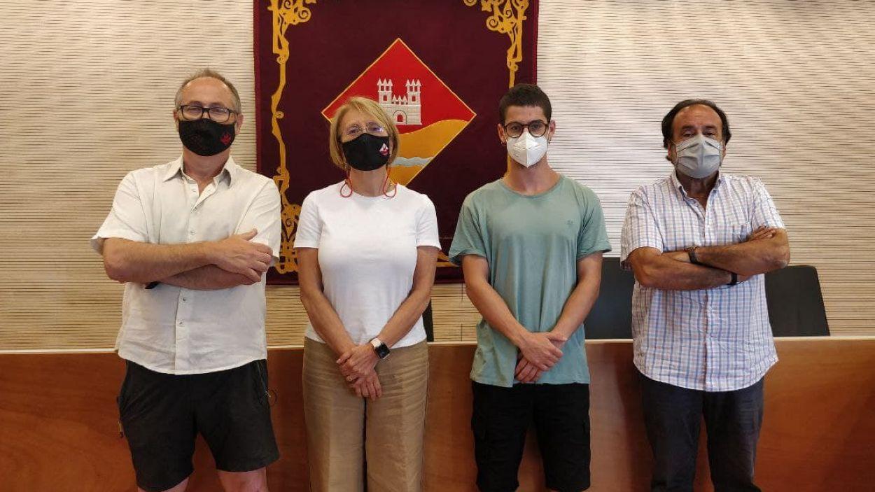 D'esquerra a dreta, Ferran Margineda (CUP-PC), Susanna Casta (PSC) i Lluc Cahís i Jaume Sanmartí (ERC-MES) / Foto: Cugat Mèdia