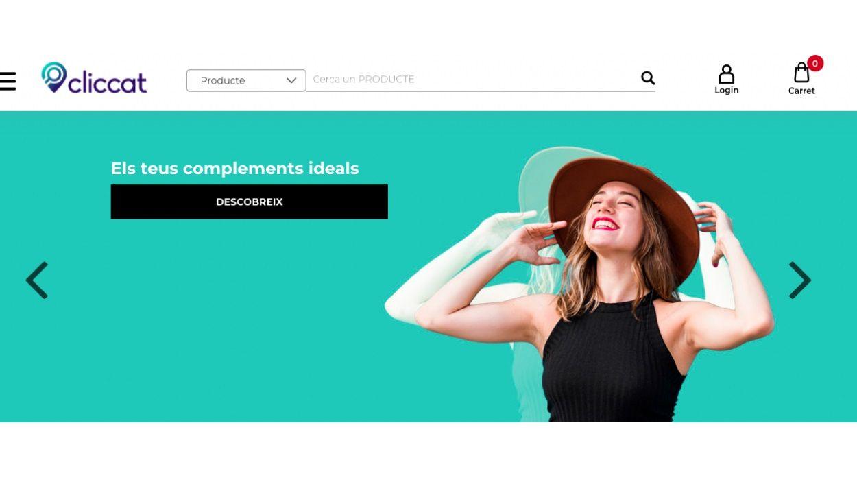 Captura de pantalla de la plataforma digital de comerç local 'Cliccat.cat'
