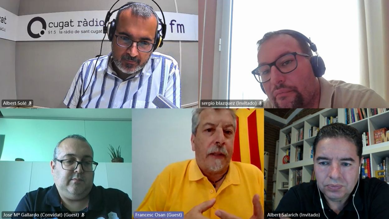 Albert Solé, Sergio Blázquez (Cs), José Gallardo (PSC), Francesc Osan (ERC) i Albert Salarich (Junts) / Foto: Teams