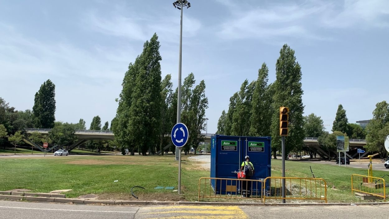 Les obres de la rotonda de l'Hipòdrom s'han reprès aquest divendres / Foto: Cugat Mèdia (Lluís Llebot)