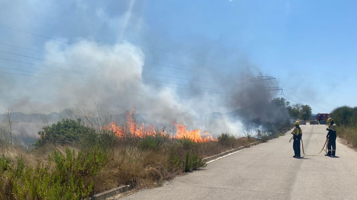 El foc ha tingut lloc al terme municipal de Sant Cugat / Foto: Protecció Civil