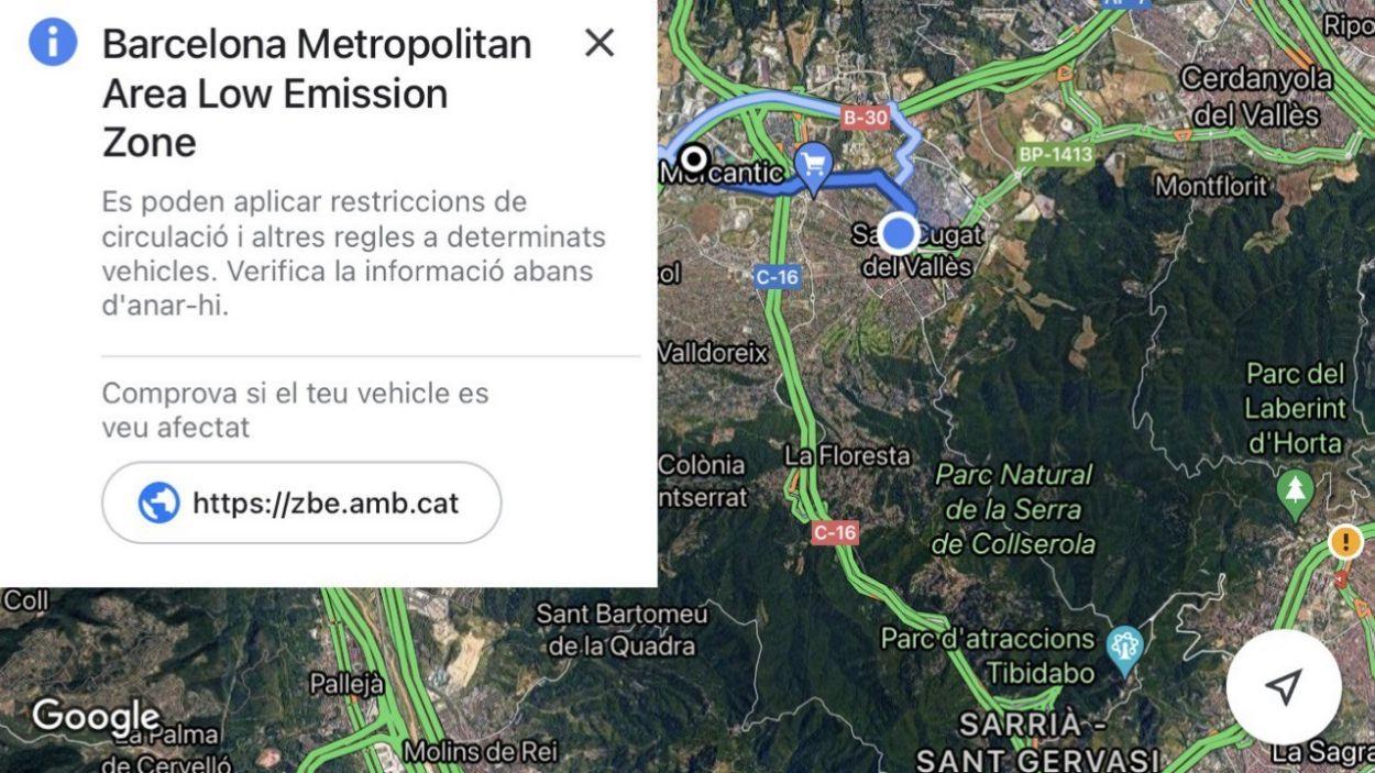 Captura de l'avís que apareix a l'app de Google Maps per la ZBE de Sant Cugat / Foto: Google Maps