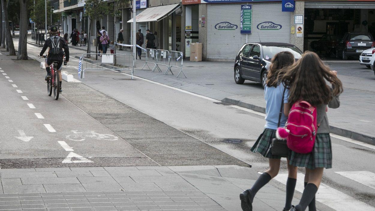 Imatge d'arxiu d'un tall a la Rambla del Celler pel Dia Sense Cotxes / Foto: Localpres