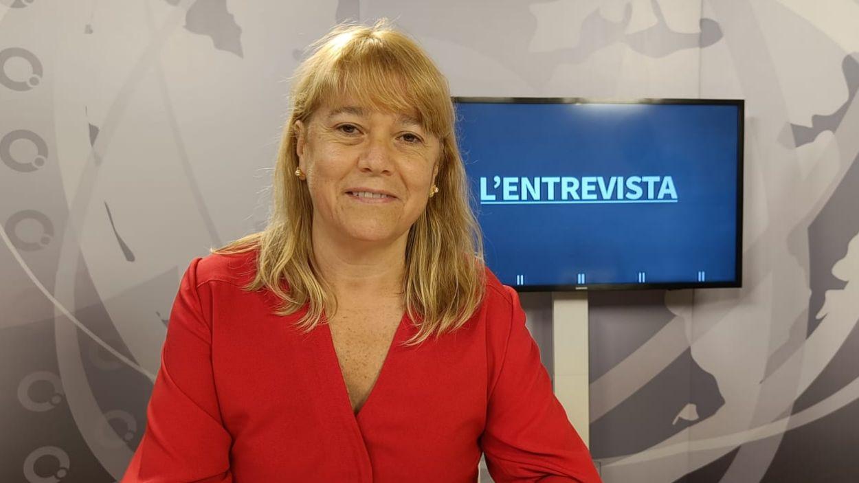 La consellera de Cultura, Natàlia Garriga, al plató de Cugat Mèdia / Foto: Cugat Mèdia