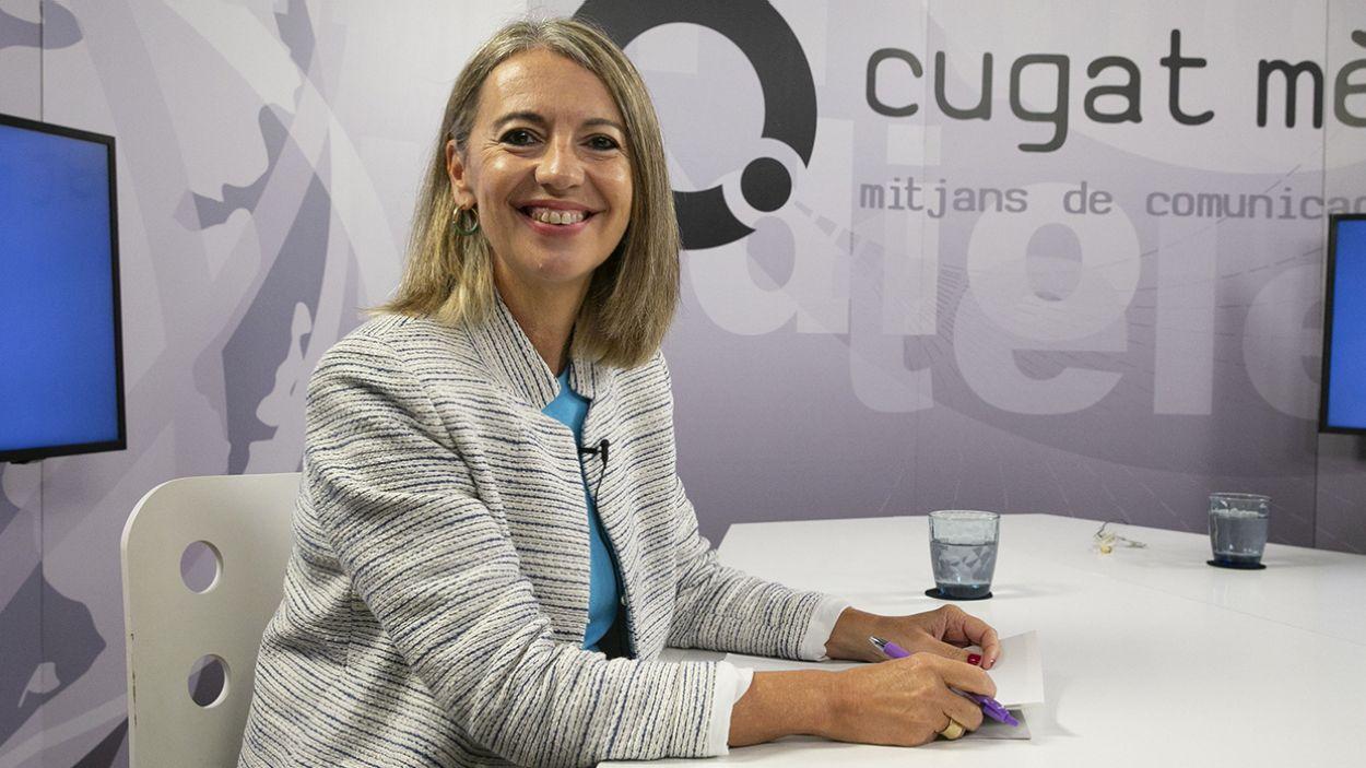 L'alcaldessa, Mireia Ingla, al plató de Cugat Mèdia / Foto: Cugat Mèdia (Lluís Llebot)