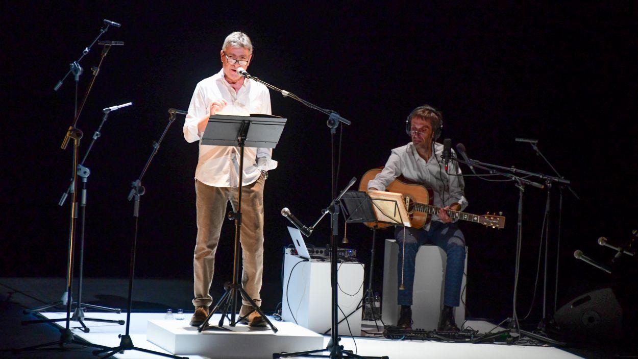 Pere Arquillué i Toni Ubach durant 'Fil de memòria' / Foto: Localpres