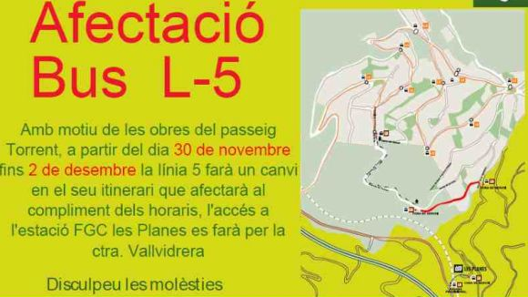 Alteracions d'horari i recorregut a les línies de bus L3 i L5