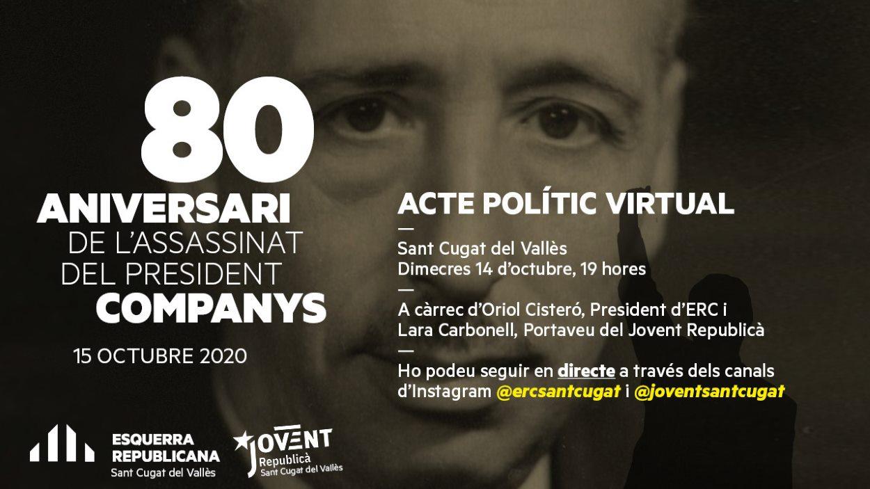 Acte polític virtual amb motiu del 80è aniversari de la mort de Companys