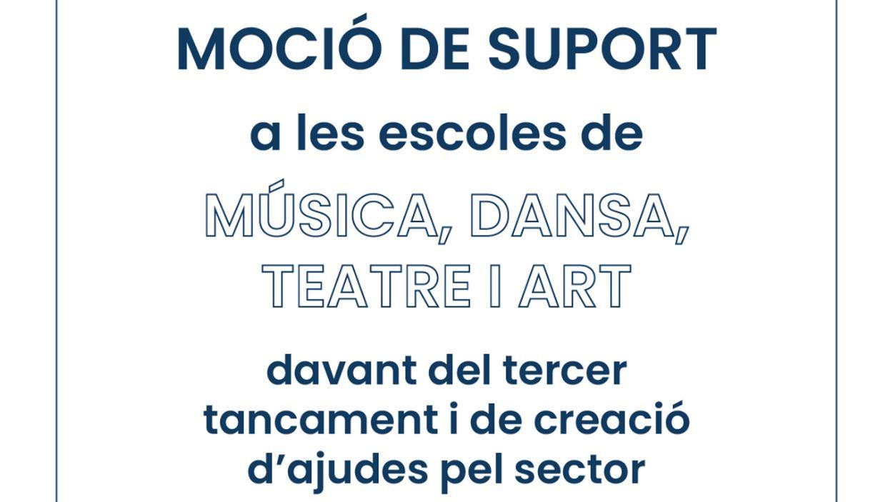 Lectura del manifest en suport a les escoles de música, dansa, teatre i art