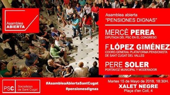 El PSC aborda aquest dimarts amb una assemblea oberta la crisi de les pensions
