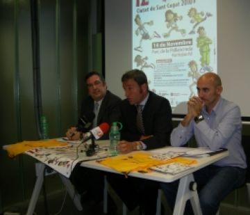 D'esquerra a dreta, Xavier Requeno, Xavier Amador i Xavier Mate a la roda de premsa del 12è Cros Ciutat de Sant Cugat