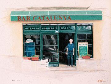 Pintura de la façana del Bar Catalunya feta per l'artista Adolf