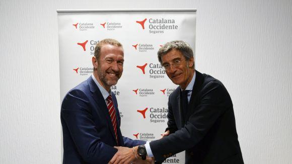 D'esquerra a dreta, el president de la UESC, Vicenç Beltrán, i el representant de Catalana, Marc Martínez