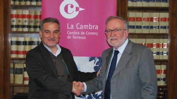 Joan Franquesa, president de SCE, a l'esquerra, i Marià Galí, president de la Cambra de Terrassa