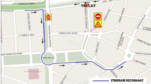 Talls de trànsit per les obres al camí Can Gatxet i l'avinguda Can Picanyol