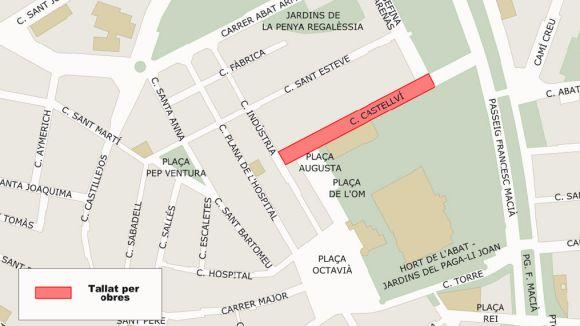 Unes obres al clavagueram tallaran el carrer de Castellví durant tres setmanes