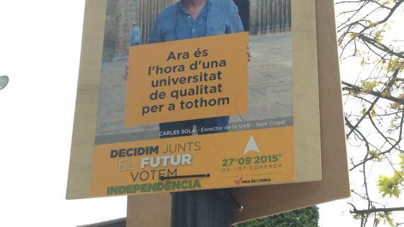 Cs denuncia la penjada de pancartes a favor de la independència 'abans d'hora'