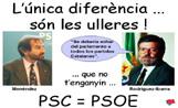 La JNC ha penjat per la ciutat cartells que comparen el candidat del PSC, Jordi Menéndez, amb el president d'Extremadura, Rodríguez Ibarra