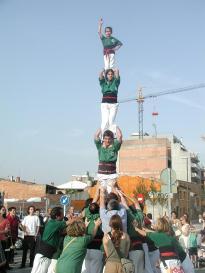 Els Castellers de Sant Cugat durant una actuació / Arxiu