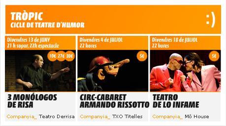 Comença 'Tròpic', un cicle de teatre d'humor que s'allargarà fins el juliol al Teatre la Unió