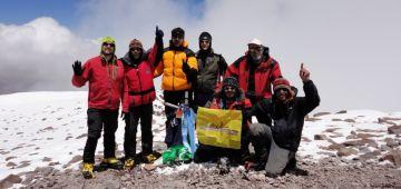 Pifarré i Casajoana fan el cim de l'Aconcagua