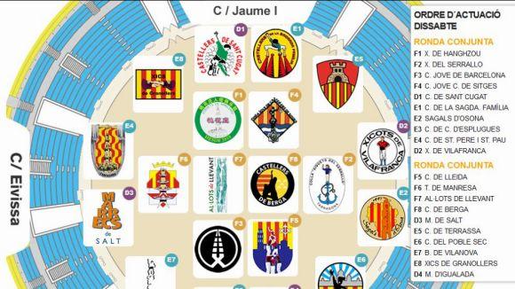 Els Gausacs, segons del primer grup al concurs de castells de Tarragona
