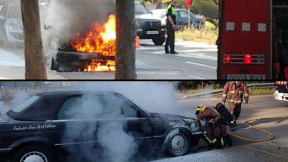 S'incendia un cotxe per una avaria a Mira-sol sense causar ferits