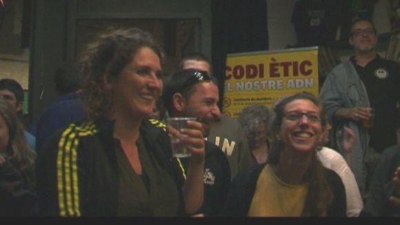 Núria Gibert, durant la nit electoral