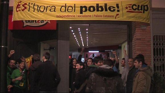 La CUP ha celebrat els resultats amb un Casal La Guitza ple de gom a gom