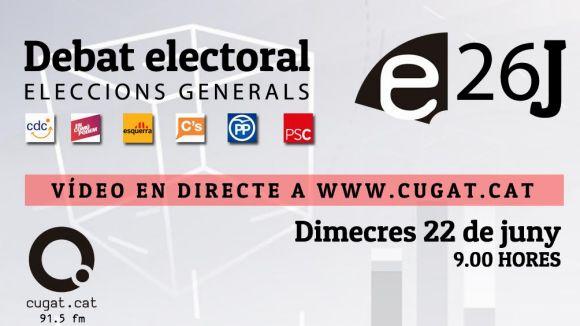 Cugat.cat ofereix aquest dimecres el debat electoral dels comicis del 26J