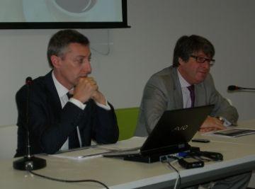 Joan Albalate i Pere Blázquez durant la ponència